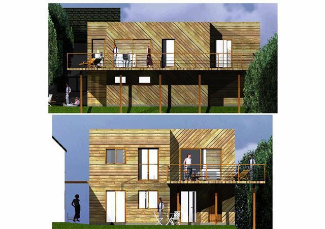 Plan maison ossature bois moderne mod le ile de france for Modele maison ile de france
