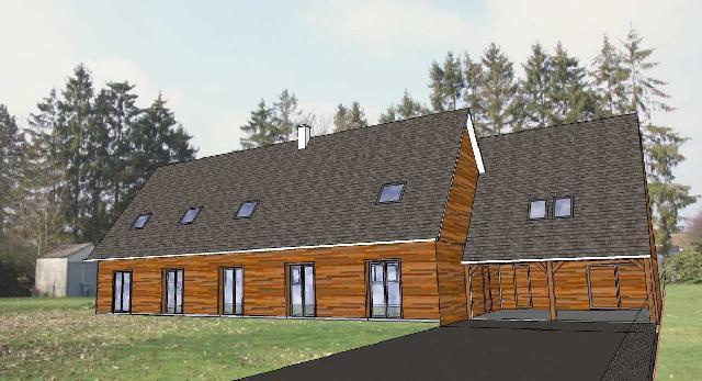 Plan maison ossature bois mod le eure et loir combles for Agrandissement maison ossature metallique