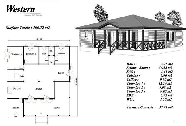 Plan maison bois mod le bouleau loggia en angle balustrade - Maison coloniale en bois ...
