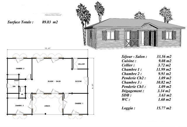 Plan de maison bois mod le pin maisonnette conomique for Modele maison bois