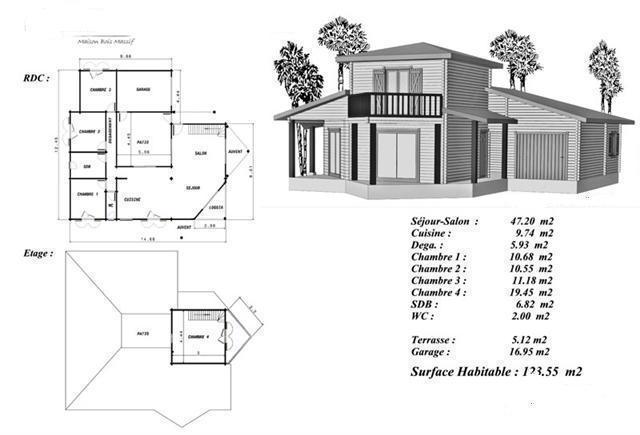 Plan maison bois mod le douglas tage sur entr e avec balcon for Exemple plan maison