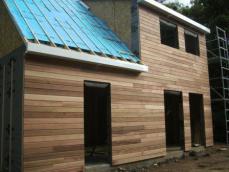 Pose du bardage sur maison ossature bois de rouen 1