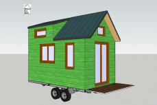 Tiny house modèle Etudiant en 3D couleur vert