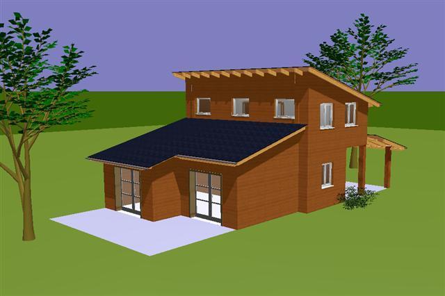 plan espagnia maison ossature bois avec toiture monopente. Black Bedroom Furniture Sets. Home Design Ideas