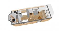 Vue en 3D aménagement intérieur de tiny house