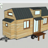 Vue en 3d de plan tiny house modele eva