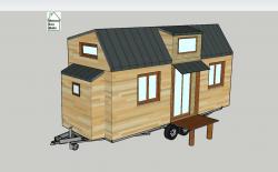 Vue en 3D de plan Tiny house modèle Éva