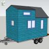 Vue plan mini tiny house modele etudiant en bleu 3d
